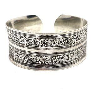 Tibetan Silver Carved Adjustable Cuff Bracelet